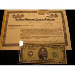 "1664 _ 1946 Stock Certificate for Five Shares ""The First National Bank of Pomona"", Pomona, Californi"
