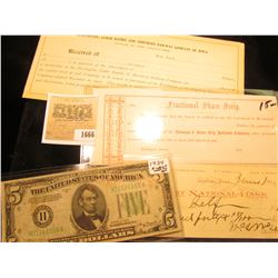 "1666 _ Unissued ""Fractional Share Scrip…Dubuque & Sioux City Railroad Company""; 1895 Check ""First Na"