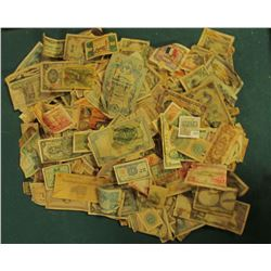 1671 _ Unsorted Box full of Old Foreign Currency, advertising notes, some facsimile notes, & possibl