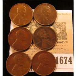 1674 _ (2) 1917 P Brown Unc, (2) 17 D VF, & (2) 18 D VF Lincoln Cents.