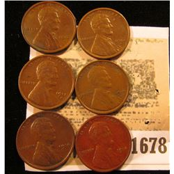 1678 _ (2) 1914P Fine, (2) 15D VF, & (2) 16S EF Lincoln Cents. All nice chocolate brown specimens.