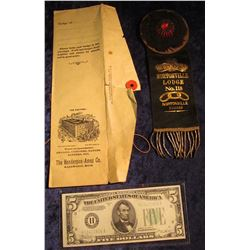 "1690 _ ""I.O.O.F. Nortonville Lodge No. 118 Nortonville Kansas"" Badge with original envelope from ""Th"