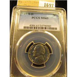 1697 _ 1970 D Jefferson Nickel PCGS slabbed MS65