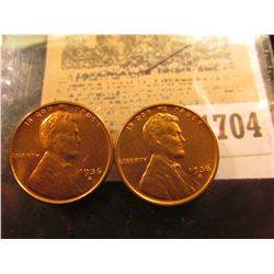 1704 _ Pair of 1936 S Lincoln Cents, Brilliant Red Uncirculated.