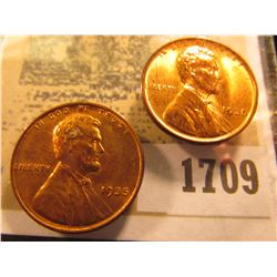 1709 _ Pair of 1935 P Lincoln Cents, mostly Brilliant Red Uncirculated.