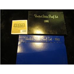 1727 _ 1981 S & 1983 S U.S. Proof Sets. Original as issued.