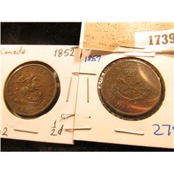1739 _ 1852 & 1857 Bank of Upper Canada Half Penny Tokens, both depict St. George slaying the Dragon