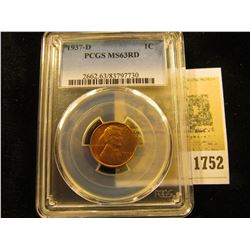 1752 _ 1937 D Lincoln Cent, PCGS slabbed MS63RD
