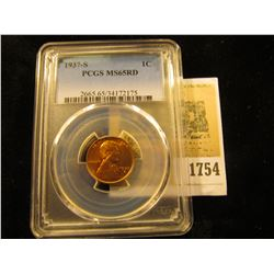 1754 _ 1937 S Lincoln Cent, PCGS slabbed MS65RD