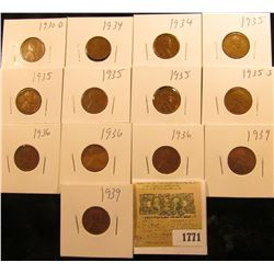 1771 _ 1930D, (2) 34P, (4) 35P, 35S, (3) 36P, & (2) 39P Wheat Cents, most are VG to Fine. All carded