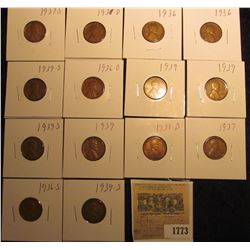 1773 _ (2) 1936P, D, S, 37P, D, S, 38D, (3) 39P, & (3) 39S Wheat Cents, most are VG to F. All carded
