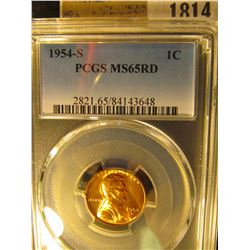 1814 _ 1954 S Lincoln Cent, PCGS slabbed MS65RD.
