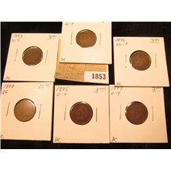 1853 _ 1892, 93, 95, 96, 97, & 98 Indian Head Cents in Good to EF. Priced to sell at over $30.00.