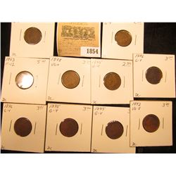 1854 _ 1892, (3) 1893, (3) 1895, (2) 1896, & 1898 Indian Head Cents grading Good to Fine, carded and