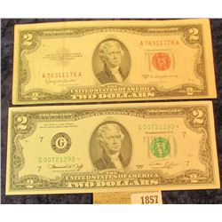 1857 _ Series 1976 Two Dollar Federal Reserve Note, Scarce Star Replacement Note, CU; & Series 1953C