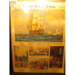 "1878 _ Matted ""Chicago Sunday Tribune November 17, 1929 Picture Section"" Cover with various Boats an"