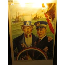 "1883 _ ""Ship of State ""Go Right Ahead I'm Back of You"" Color Print of Uncle Sam with a Ship's Captai"