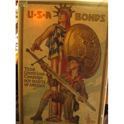 "1884 _ Large Poster which Doc valued at $325 of ""USA Bonds Third Liberty Loan Campaign Boy Scouts of"