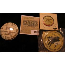 """1920 _ """"Rhode Island States Resaraunt"""" Pin-back, """"Jesse French Pianos…New Castle, Ind."""" Pin-back; &"""