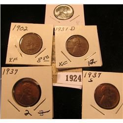 1924 _ 1931 D EF, 37P BU, 37S EF, 43P BU Lincoln Cents; & 1902 Indian Head Cent, EF.