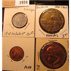 1934 _ (4) Different Indian or Buffalo related Tokens or Medals.