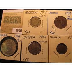 1940 _ (5) Austria Type Coins dating from 1861 to 1952.