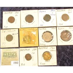 1942 _ (10) Austria Type Coins dating from 1800 to 1965 and inclkudes a Proof issue.