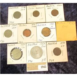 1943 _ (10) Austria Type Coins dating from 1858 to 1965 and inclkudes a Proof issue.