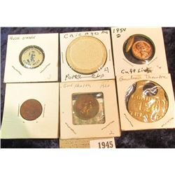 """1945 _ """"Goodman 126A Theatre"""" Brass Locker Tag?; 1954 D Lincoln Cent Cuff-link; Old Indian Head Cent"""