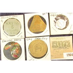 "1964 _ ""Wabash/Club/A.H. Salzman"", ""Good For/1/Soda"", oct., al., AU; ""Official Token/5 R.M./Jersey/F"