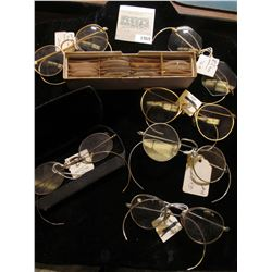 1969 _ (6) Pairs of old Antique Eye Glasses, most are Gold-filled; & a box of various lenses.