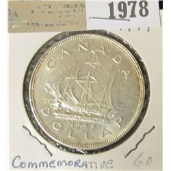 "1978 _ 1949 Canada Commemorative ""John Cabot's Sailing Ship"" Silver Dollar, AU-BU."