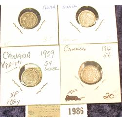 1986 _ 1906, 1908, 1909, & 1912 Canada Five Cent Silvers. All EF-AU.