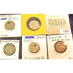1987 _ (3) Dead Indian Head Nickels; 1943 P Silver War Nickel AU; & 1892 Indian Head Cent made into