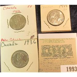 1993 _ 1922, 34, & 36 Canada Nickels, Brilliant Uncirculated.