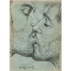 "Attr. ANDY WARHOL US 1928-1987 Pencil ""Lovers"""