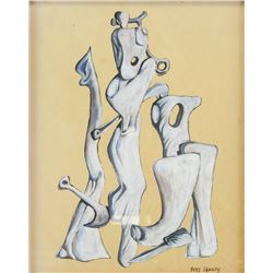 French Artist Signed Yves Tanguy Gouache on Paper