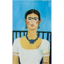 Attr. FRIDA KAHLO Mexican 1907-1954 Oil on Board