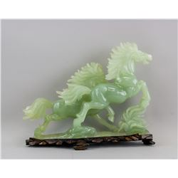 Chinese Green Jade Carved Horses Statue with Stand