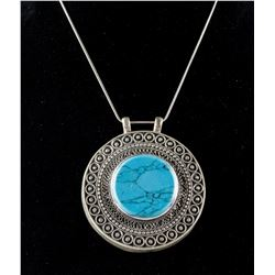 Large Round Silver Turquoise Necklace