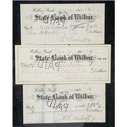1914 US State Bank of Wilbur Cancelled Cheques 3PC