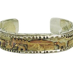 Navajo Silver and Gold Bracelet - Roger Nelson
