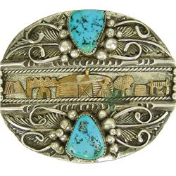 Navajo Silver and Gold Buckle - Roger Nelson
