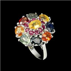 Natural  6x4mm Fancy Color Sapphire & Ruby Ring