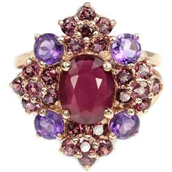 Natural BLOOD RED RUBY RHODOLITE & AMETHYST Ring