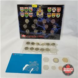 1999 Grouping: Canada 1999 Quarter Collector Card (12 Coins); 1999 Monthly Quarters (Jan - Nov); RCM