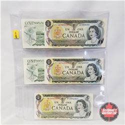 Canada $1 Bill 1973 - Sheet of 5: AE0830281; AA7635489; BFA8966857; ECL1661403; BCZ4717714