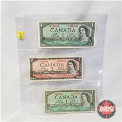 Canada Bills - Sheet of 3: $1 Bill CI9485138; $2 Bill CG7065604; $1 Bill VF1606256