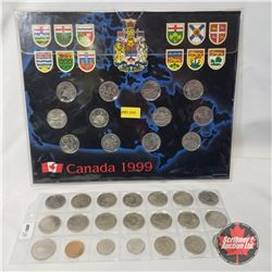 1999 Grouping: Canada 1999 Quarter Collector Card (12 Coins); 1999 Monthly Quarters (15 - April, Jun