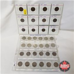 Canada Coins Grouping: (1¢: 1920; 1920; 1921; 1921; 1927; 1928; 1929; 1932; 1933; 1934; 1935; 1936;